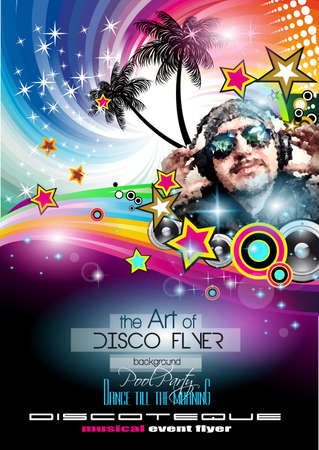 Club Disco Flyer Set with LOW POLY DJs and Colorful Scalable backgrounds. A lot of diffente style flyer for your techno, hip hop, electro or metal  music event Posters and advertising printed material. photo