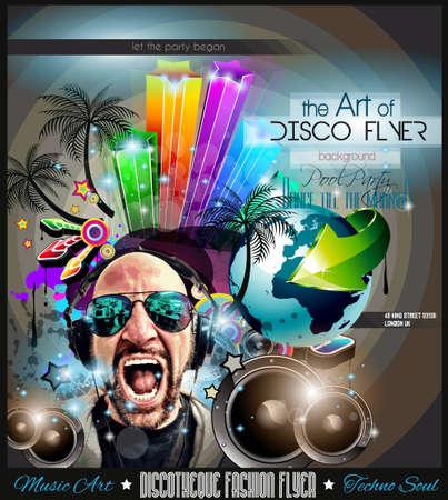 Club de Disco Volante Establecer con DJs y fondos escalables coloridas. Una gran cantidad de volante de estilo diffente para su techno, hip hop, electro o música de metal eventos pósters y material impreso de publicidad. Foto de archivo - 43956370