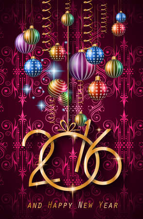 muerdago navideÃ?  Ã? Ã?±o: 2016 del fondo de la Feliz Año Nuevo para sus invitaciones de la cena de Navidad Vectores