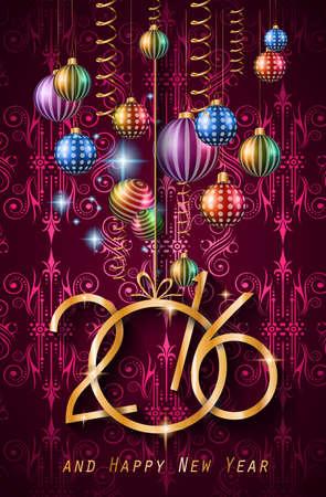 frohes neues jahr: 2016 Frohes Neues Jahr Hintergrund für Ihr Weihnachtsessen Einladungen Illustration