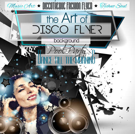 events: Club Disco Flyer Set with  Music themed backgrounds. Illustration