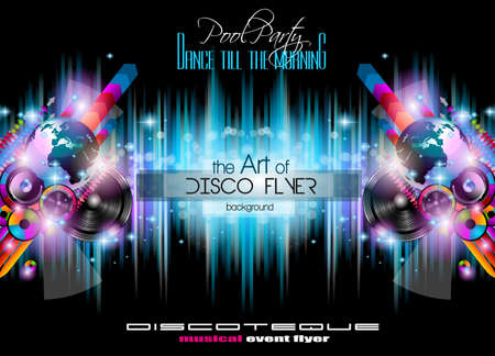 discotheque: Club Disco Flyer Set with  Music themed backgrounds. Illustration