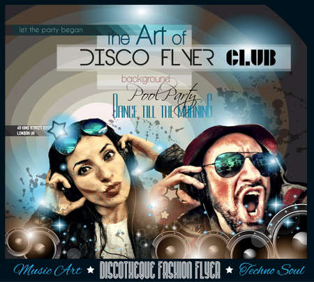 Club Disco Flyer Set with  Music themed backgrounds. photo