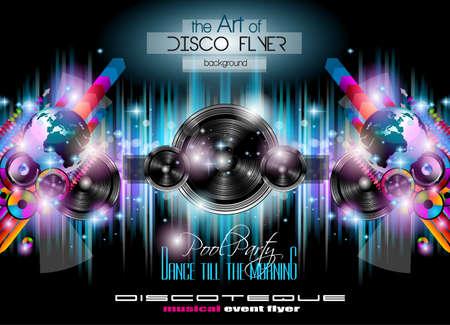 fond de texte: Club Disco Flyer Set avec musique horizons thématiques.