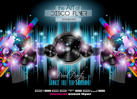 Club Disco Flyer Set with  Music themed backgrounds. Illustration