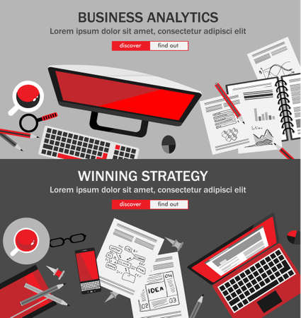 business consulting: Flat Style Design Concepts for business strategy and career. Ideal for corporate brochures, flyers, digital marketing, product or idea presentations, web banners and so on .
