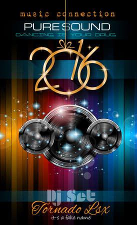 fiesta: 2016 del aviador del partido del A�o Nuevo para eventos especiales Club de M�sica de la noche. Fondo del modelo del dise�o con el espacio de m�sica elementos tem�ticos ans para el texto. Vectores