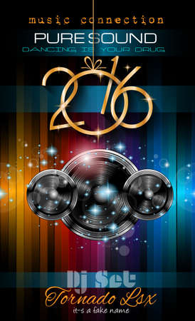 young people party: 2016 New Years Party Flyer for Club Music Night special events. Layout Template Background with music themed elements ans space for text. Illustration