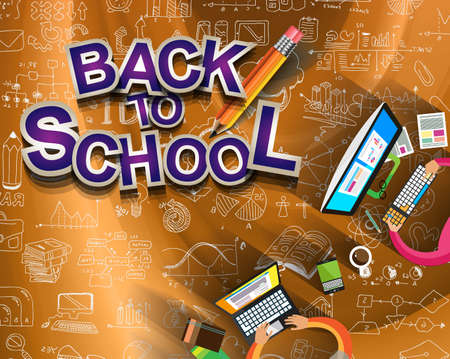 back to school: Back to School Background to use for advertiments, as book cover or related material presentation. Pencil, computers, scratchboard, rubbers and a lot of elements are included.