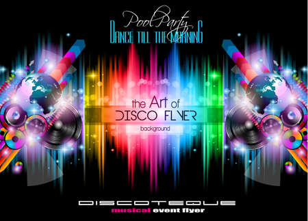 night: Club Disco Flyer Set with Music Elements and Colorful Scalable backgrounds. A lot of diffente style flyer for your techno, hip hop, electro or metal  music event Posters and advertising printed material.