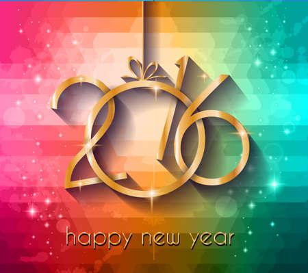 nowy: 2016 Szczęśliwego Nowego Roku Tło dla swoich świątecznych zaproszeń na kolację, plakatach, świąteczne menu restauracji okładka, okładka, depliant promocyjne, Eleganckie Kartki z życzeniami i tak dalej. Ilustracja