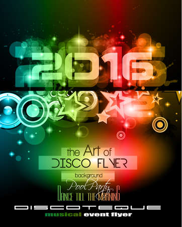 special events: 2016 New Years Party Flyer for Club Music Night special events. Layout Template Background with music themed elements ans space for text. Illustration