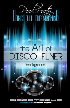 Disco Club Flyer Template for your Music Nights Event. Ideal for TEchno Music, Hip Hop and House Performance Posters and flyers for Discotheques and night clubs. Stock Illustratie