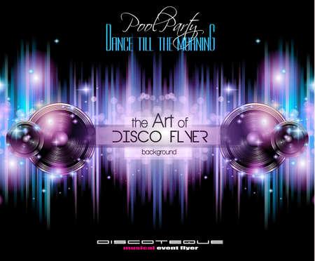 당신의 음악의 밤 이벤트에 대한 디스코 클럽 전단 템플릿입니다. 테크노 음악, 힙합과 디스코, 나이트 클럽 하우스 성능 포스터와 전단지에 적합합니