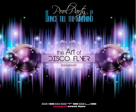 event party: Disco Club Flyer Template for your Music Nights Event. Ideal for TEchno Music, Hip Hop and House Performance Posters and flyers for Discotheques and night clubs. Illustration