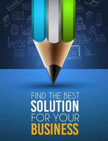 product presentation: Best Business Solution Infographic Layout Template for data and information analysis with a number of solutions available. Ideal for product presentation, item ranking, ideas evaluation and so on. Illustration