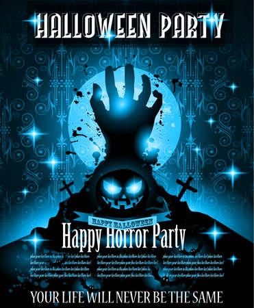 fiesta: Plantilla de Halloween del partido Aviador del acontecimiento de la noche con espacio para el texto. Ideal para fiestas tem�ticas, Horror Clubes Posters, eventos de m�sica y volantes Discoteca. Vectores
