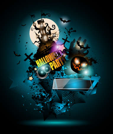 horror house: Halloween Night Event Flyer Party template with Space for text. Ideal For Horror themed parties, Clubs Posters, Music events and Discotheque flyers.