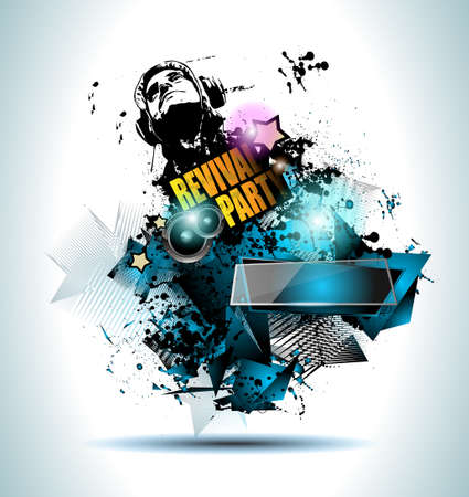 クラブ ディスコ チラシ音楽要素とカラフルなスケーラブルな背景を設定します。テクノ、ヒップホップ、エレクトロや金属の音楽イベントのポスタ