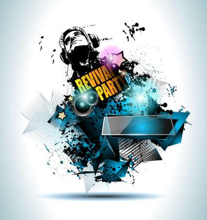 Club Disco Flyer Set mit Musik Elemente und Bunte Scalable Hintergründe. Viele diffente Style Flyer für Ihre Techno, Hip-Hop, Electro oder Metallmusikveranstaltung Poster und Werbedrucksachen. Standard-Bild - 45782464
