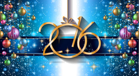 2016 Happy New Year Background for your Christmas Flyers, dinner invitations, festive posters, restaurant menu cover, book cover,promotional depliant, Elegant greetings cards and so on. Ilustração