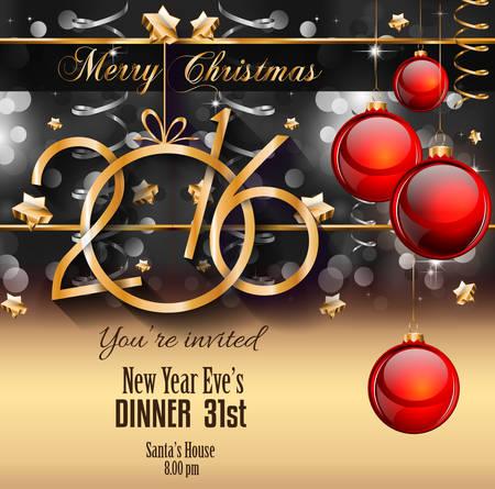 invitacion fiesta: 2016 del fondo de la Feliz A�o Nuevo para los aviadores de la Navidad, las invitaciones de la cena, carteles festivos, cubierta del men� de restaurante, de libro, depliant promocional, saludos elegantes tarjetas y as� sucesivamente. Vectores