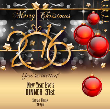 christmas party: 2016 Happy New Year Background for your Christmas Flyers, dinner invitations, festive posters, restaurant menu cover, book cover,promotional depliant, Elegant greetings cards and so on. Illustration