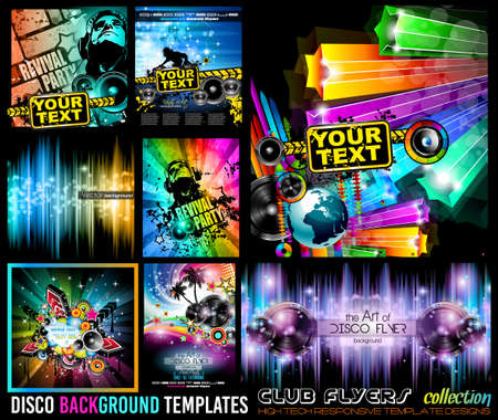 disco: Big Set of Disco Club Flyer Template for your Music Nights Event. Ideal for TEchno Music, Hip Hop and House Performance Posters and flyers for Discotheques and night clubs.