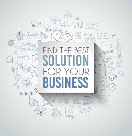 solutions icon: Best Solution for Your Business Slogan over a squared flat panel with soft shadow over an hand drawn doodles skeches collection of symbols, graphs, maths, infographics ans so on. Illustration