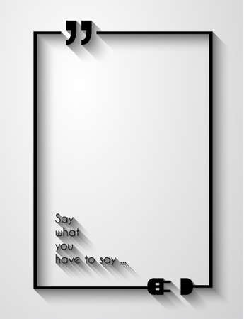 quotation marks: Quotation Mark Frame with Flat style and space for text. Modern template layout for phrases citation, famous quotations, ideas, advertising, printed material and so on.