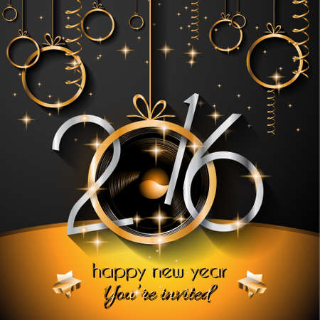 new year celebration: 2016 Christmas and Happy New Year Party flyer. Complete layout with space for text for your dinner invitation, xmas parties or new years eve party flyer.