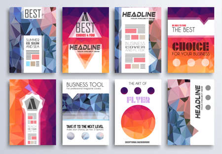 page layout: Set of Brochure, Flyers and layout templates for you projects. Ideal to use for brochures template, book cover, magazine fron page and generic printed material.