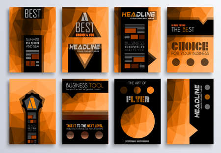 flyer background: Set of Brochure, Flyers and layout templates for you projects. Ideal to use for brochures template, book cover, magazine fron page and generic printed material.