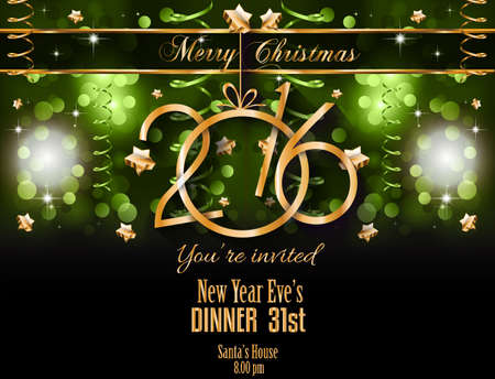 dinner party: 2016 Christmas and Happy New Year Party flyer. Complete layout with space for text for your dinner invitation, xmas parties or new years eve party flyer.