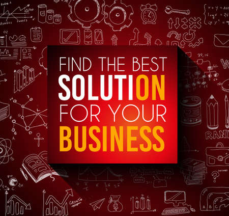 find solution: Conceptual background: find the best solution for your business. Illustration