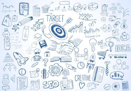 boceto: Resumen de antecedentes moderno con bocetos del doodle dibujado mano de Dise�os de volante