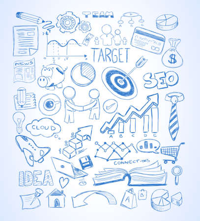 pencil doodle: Modern Abstract background with hand drawn doodle sketches  for Flyer Designs