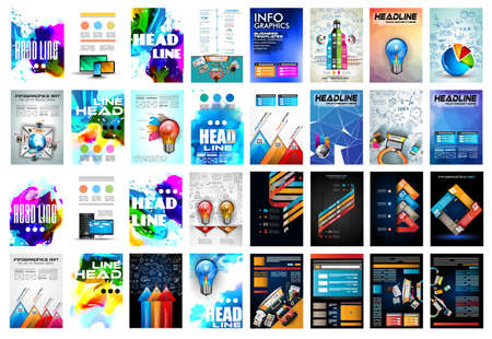 magazine layout: Set of Brochure, Flyers and layout templates for you projects.