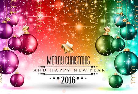 Fiesta: 2016 Navidad y Feliz A�o Nuevo Partido volante. Vectores