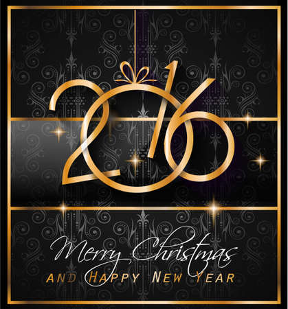new years eve dinner: 2016 Christmas and Happy New Year Party flyer. Complete layout with space for text for your dinner invitation, xmas parties or new years eve party flyer.