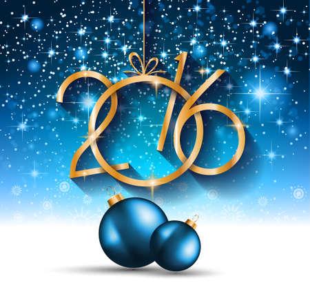 nowy rok: 2016 Świąt i Szczęśliwego Nowego Roku Party Flyer. Kompletny układ z miejsca na tekst na obiad zaproszenie, imprezy xmas lub nowego roku ulotki Eve party. Ilustracja