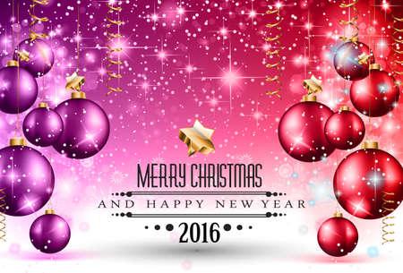 fin de a�o: 2016 Navidad y Feliz A�o Nuevo Partido volante. Dise�o completo con espacio para el texto para sus invitaci�n de la cena, fiestas de Navidad o aviador del partido la v�spera de a�o nuevo.