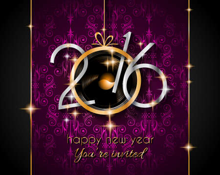new years eve: 2016 Christmas and Happy New Year Party flyer. Complete layout with space for text for your dinner invitation, xmas parties or new years eve party flyer.