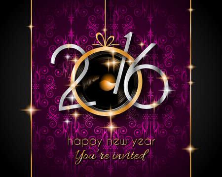 2016 Kerstmis en Gelukkig Nieuwjaar partij flyer. Compleet lay-out met ruimte voor tekst voor uw uitnodiging diner, kerstmis partijen of New Year's Eve party flyer.
