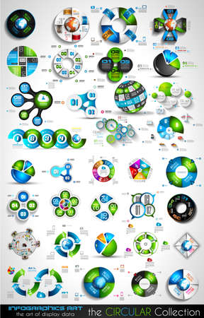 Circular Infographics BIG collection for your graphs, product ranking, items classification, business presentation, high tech flyers or brochures.