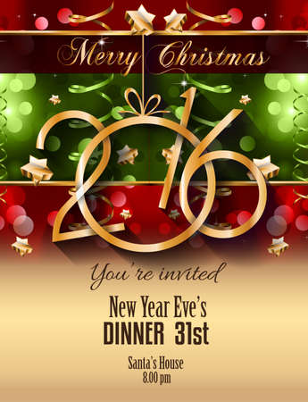 christmas dinner party: 2016 Christmas and Happy New Year Party flyer. Complete layout with space for text for your dinner invitation, xmas parties or new years eve party flyer.