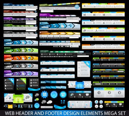 Mega Collection van Website templates, web-kop- en voetteksten, menu, drop menu, website iconen, design elementen voor webpagina's, panelen, knoppen en ga zo maar door. Stock Illustratie