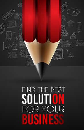evaluacion: Mejor Solución de Negocios Infografía plantilla de diseño para los datos y análisis de la información con una serie de soluciones disponibles. Ideal para la presentación del producto, la clasificación tema, la evaluación de ideas y así sucesivamente.