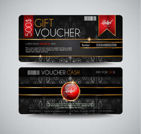 Voucher Gift Card layout template for your promotional design. Space and fields for text, front and back provided. Иллюстрация