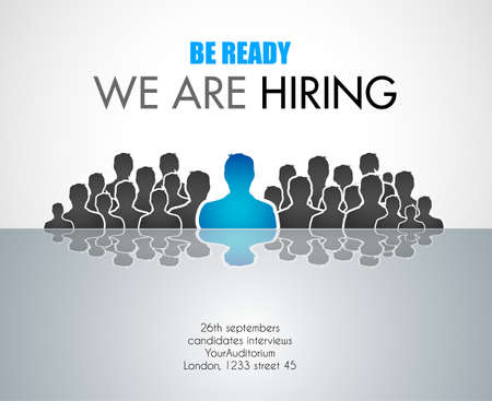 We Are Hiring background for your hiring posters and flyer. Simple and clean design with a lot of human shapes and space for your job details.